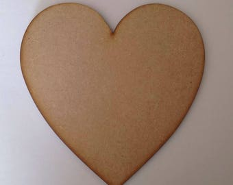 6 x Large Wooden Hearts 20cm, 6mm Thick