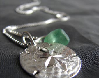 Green Sea Glass Necklace / beach glass necklace / sea glass jewelry / sand dollar necklace / sand dollar jewelry  / beach bling