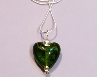 """Dark Green with Lime Green Swirls Puff Glass Heart Pendant- Sterling Silver Wire Wrapping- 18"""" Sterling Silver Chain- Handmade"""