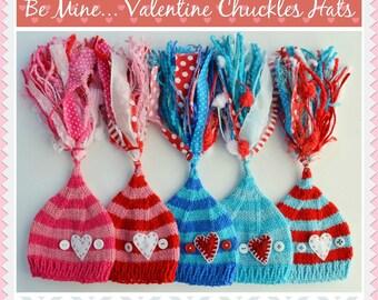Newborn Knit HeART HaT 3 6 12 month BaBY PHoTO PRoP Boy Girl STRiPE Stocking Cap BIG TaSSeL Toque BuTToN BeANiE Red Aqua Pink Blue White