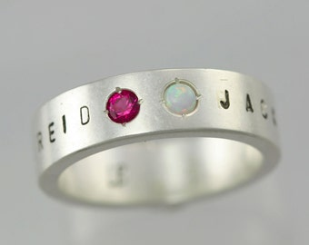 2 Stone Name Mother Ring in Sterling Silver