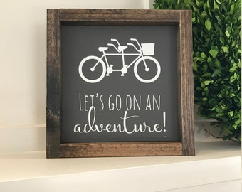 Let's go on an adventure sign, Wood sign, painted sign, Bicycle decor, Gallery wall sign, Bicycle sign, Tandem bike sign, Adventure sign