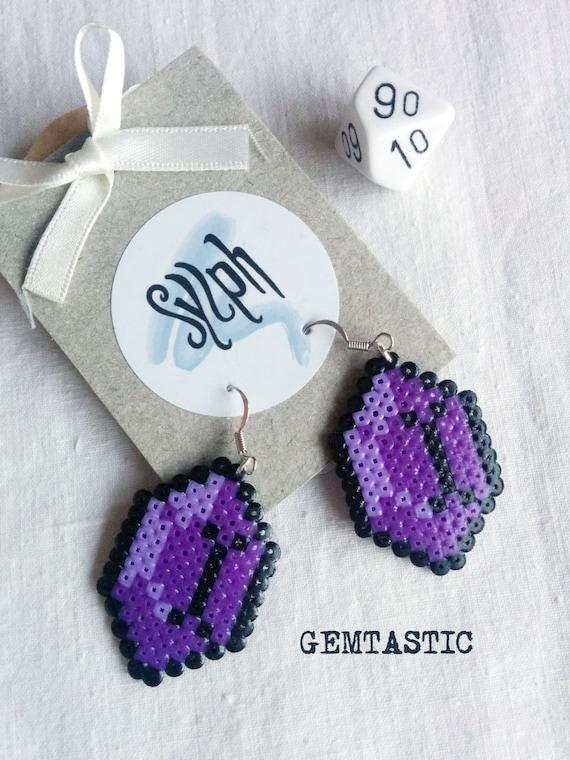 Deep purple 8bit Zelda game inspired Gemtastic  jewel earrings for gamer girls made of Hama Mini Perler Beads