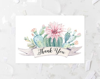 Cactus Thank You Card Printable Succulent Thank You Note Card Cactus Baby Shower Fold Over Thank You Card Cactus Thank You Flat Card 267
