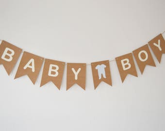 It's A Boy, Blue Heart Baby Boy Bunting, New Baby Banner, Baby Shower Party Decoration, Kraft Card Bunting
