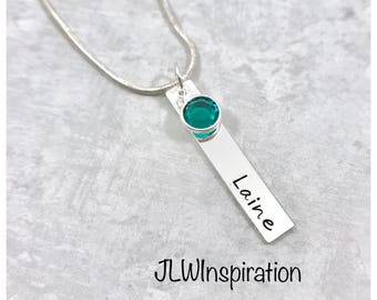 Sterling silver name and birthstone necklace, Christmas gift, birthday present, daughter, sister, niece, mom, wife, Mother's day,  custom