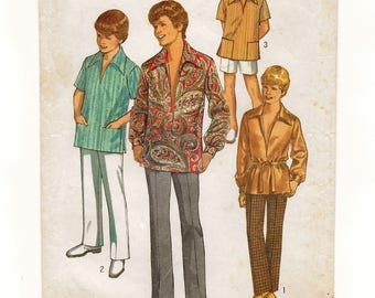 """A Long/Short Sleeve Tunic-Style Shirt, Fly Front Shorts and Pants Sewing Pattern for Teen Boys: Size 20, Chest 36-1/2"""" • Simplicity 8859"""