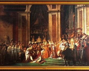 Rare Napoleon Coronation in Notre-Dame de Paris by Jacques-Louis David Oil/Canvas/Frame