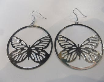Silver Butterfly print hoop costume jewelry earrings