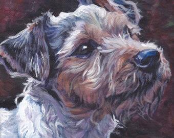 Parson Russell Terrier dog portrait art CANVAS print of LA Shepard painting 8x8
