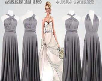 Bridesmaid Gifts,Sliver Gray Dress,Bridesmaid Gift,Set of 4,4 Bridesmaid Dress,Grey Dress,Long dress,Handmade Gifts
