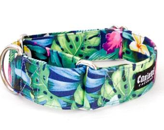 "Dog Collar - Hawaiian Flowers - Martingale, Buckle - 1"" - 2""  inch width"