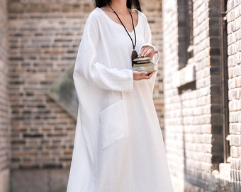 Womens Loose Fitting Cotton And Linen Dress, Womens Long Dresses, Loose Robe, Vintage Dresses, Beach Dresses, White Dresses, Bust>160CM