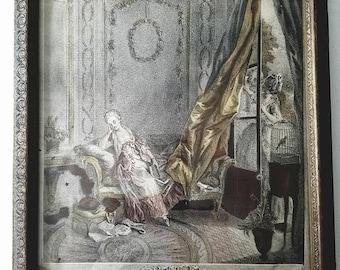 Antique French Le Boudoir Print by Maleuvre Paris France