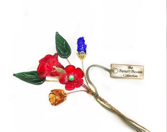 Multicolor Lampwork Flower Headpin Bouquet. Set of six headpins.