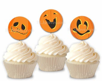 Halloween Party Cupcake Toppers, Pumpkin Faces  Jack O'Lantern, Party or Food Picks, Set of 12  CT002