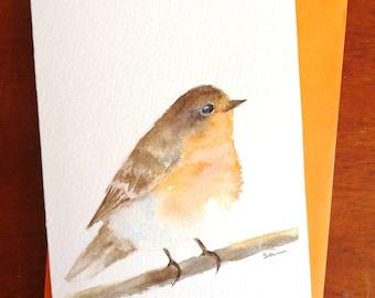 Robbin Bird Original Watercolour Painting Card A6
