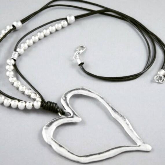 Black Leather Necklace, Heart necklace, Zamak Pendant,Women Necklace ,Leather Long Necklace ,Zamak Heart Pendant, Uno de 50 Style,gift