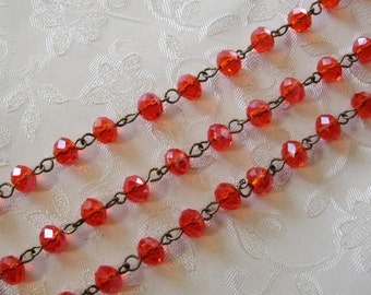 """One Meter 39.5"""" Faceted Red Rondelle Glass 6mm x 8mm Beaded Rosary Link Chain Antique Bronze 989"""