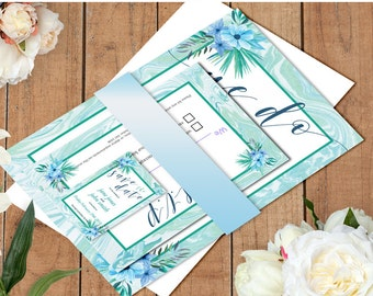 Mint Marble Wedding Invitation Suite Template, Mint Wedding Suite, Printable Invitations, Boho Wedding Save The Date RSVP