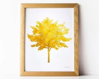Mustard Yellow Tree Wall Decor, Tree Wall Art Decor, Fall Art, Mustard Decor, Home Wall Art, Yellow Wall Print, Mustard Art, Yellow Artwork