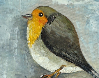 """Original oil painting on canvas, oil painting """"Winter robin"""""""