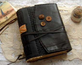 Sunset Stories - Large Black Recycled Leather Journal, Hand Stitched, Vintage Linen, Tea-Stained Pages - OOAK