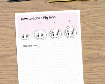 How to Draw a Pig Face - beginner drawing lessons - Easy step by step - PDF - A4 Digital File Ready to Print