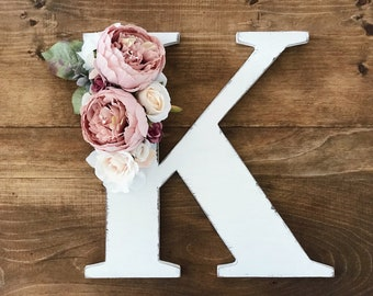 Distressed mauve floral letter, rustic wood letter with flowers, distressed nursery name letter, floral wood letter, famrhouse nursery decor