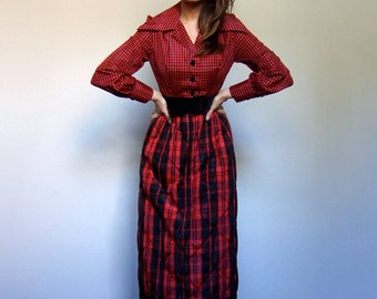 Christmas Dress with Pockets Women 60s Vintage Red Long Sleeve Maxi Dress Plaid Dress Holiday Party Dress - Extra Small to Small XS S