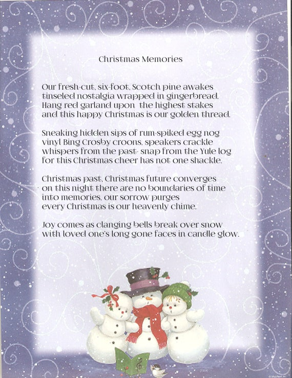 Christmas Memories An Original Signed Poem Home