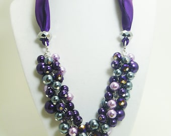 Pearl Cluster Necklace, Purple, Pewter and Lilac chunky necklace, ribbon necklace, purple bib necklace, bridal necklace, wedding jewelry.