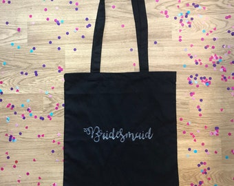 Personalised Bridesmaid Maid of Honour Tote Bag // Wedding Bride Squad Hen Do Party Weekend Black White