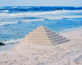 Pyramid Sandcastle Photograph // Florida Beach Photo // Sandcastle Photo // Seascape Photography