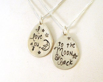 I Love You to the Moon and Back Necklace Set | Mother Daughter Necklace Set | Mother Daughter Gift | Valentines Day Gift | Sterling Silver
