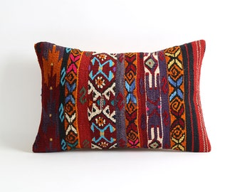 Lumbar kilim pillow 12x18 turkish pillow cover, pillow case, southwestern pillow, cushion, moroccan decor, kilim cushions, aztec pillow