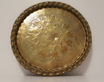 Large Hand Forged and Etched Antique Brass Tray / Wall Plate