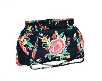 NORMA KAMALI Vintage Handbag Slouchy Framed Floral Oversized Bag - AUTHENTIC -