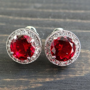 Vintage fashion earrings red earrings gift for mom art deco wedding earrings bridal earrings silver plated Stud earrings wife gift mother