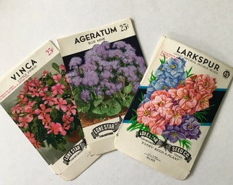"Flower Seed Packets / 6 Vintage Seed Label packets 3.25"" x 5"" Great for Altered Art, Mixed Media, Journals, etc."