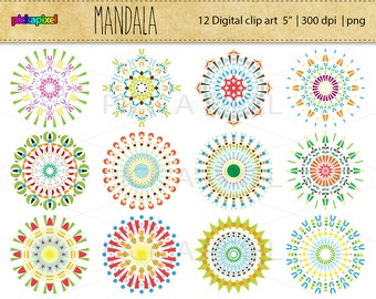 Mandala - 12 digital clip art - Personal and Commercial Use