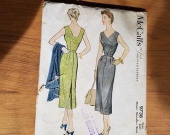 RARE 1954 vintage McCall's Sleeveless dress pattern, size 12