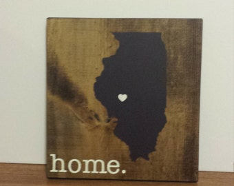 Illinois Wood Sign, State Sign, Custom Wood Sign, Pallet Sign, Personalized Wood Sign, home decor, wall art, moving gift