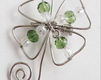 St. Patrick's Day Jewelry  Four Leaf Clover Shamrock pin Crystal & Green Crystals