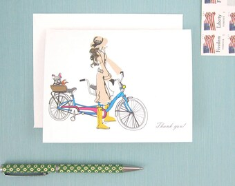 Thank You Card, 1 Greeting Card, Parisian, French Bike Ride, Bicycle Built for Two, Girl and her French Bulldog