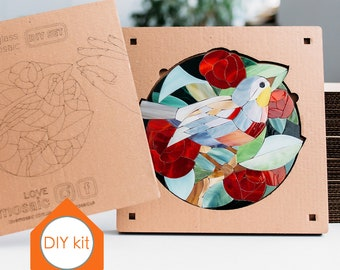 Unique wall art Bird in red flowers Mosaic bird wedding favor Wedding gift ideas Red living room decor Round wall art picture DIY mosaic kit