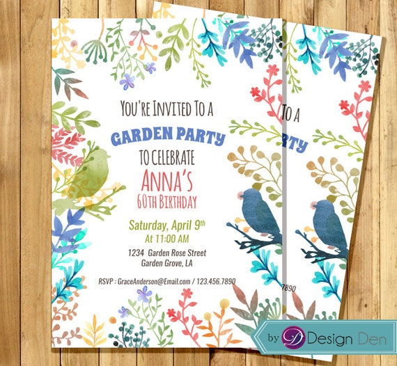 garden party invitation anniversaire invitation pour femme. Black Bedroom Furniture Sets. Home Design Ideas
