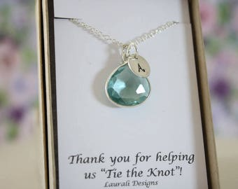 6 Monogram Bridesmaid Necklace Mint, Bridesmaid Gift, Mint Blue Quartz, Sterling Silver, Initial Jewelry, Personalized, Jr Bridesmaid Gift