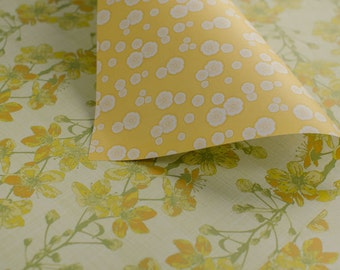 Cherry Blossom gift wrap - yellow & mustard