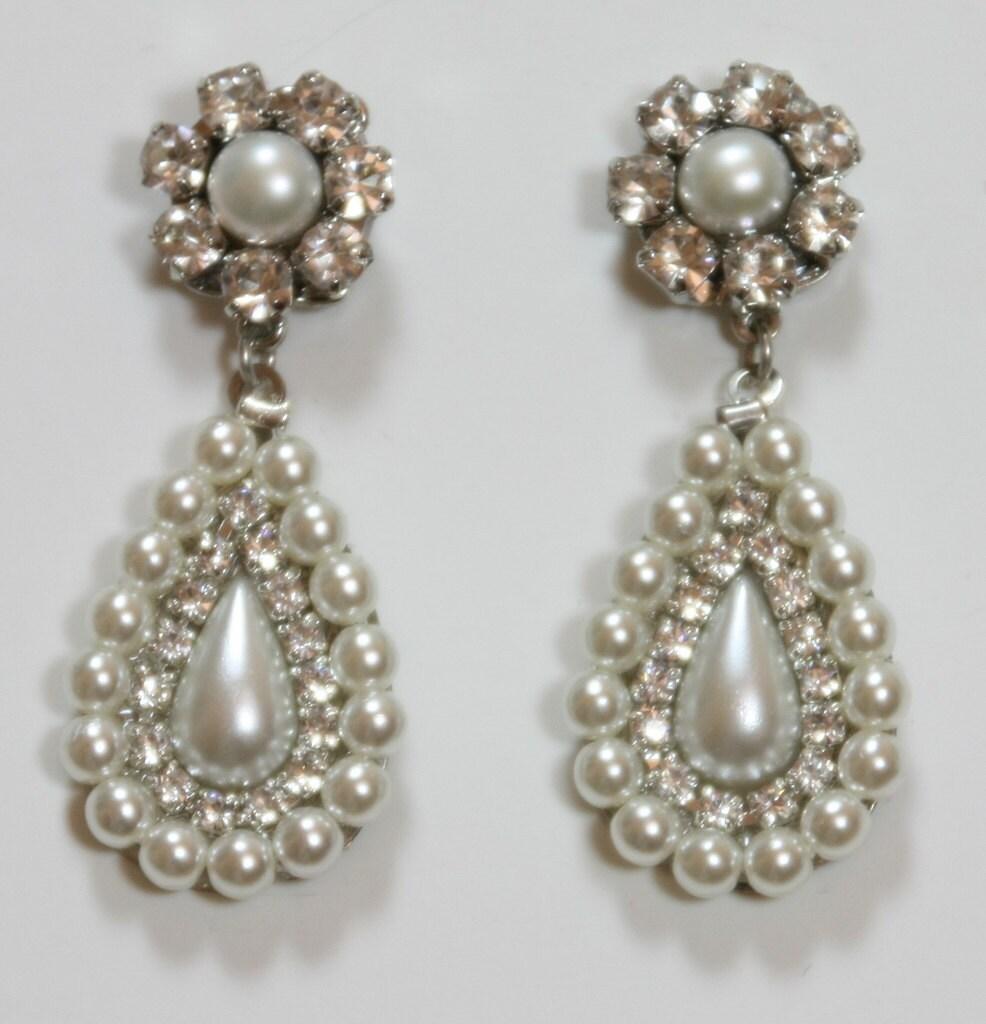 Pearl chandelier earrings wedding chandelier design ideas bridal earrings chandelier wedding crystal pearl dangle zoom aloadofball Images